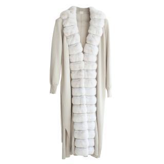 FurbySD Icy White Chinchilla Fur Trim Silk Jacket