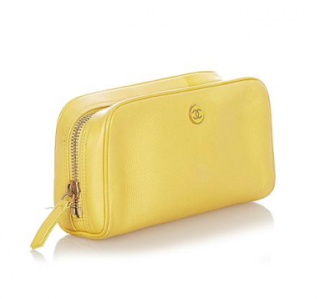 Chanel Yellow Caviar Leather Zip Pouch