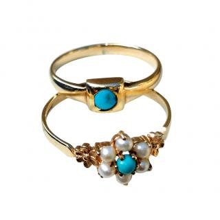 Bespoke Yellow Gold Victorian Revival Turquoise & Pearl Rings