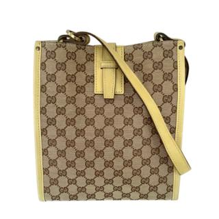 Gucci Yellow Leather Trim Vintage Supreme Shoulder Bag