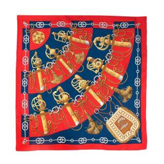 Hermes Vintage 90cm Cliquetis Red Blue & Gold Silk Twill Scarf