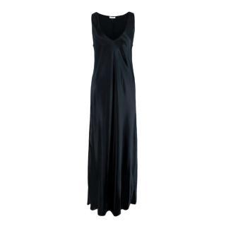 The Row Natasha Navy Satin Slip Maxi Dress