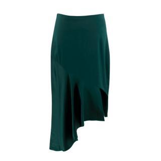 Cushnie et Ochs Emerald Green Silk Satin Asymmetric Midi Skirt