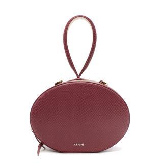 Cafune Mauve Pink Egg Snake Effect Leather Wristlet Bag