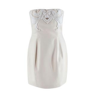 Stella McCartney Cream Wool Cashmere Embellished Bustier Dress