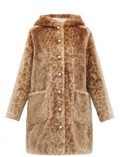Shrimps Leopard Print Faux Fur Hooded Coat