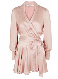 Zimmermann Pink Silk-satin Wrap Dress