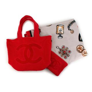 Chanel Red CC Terry Cotton Beach Bag & Towel Set
