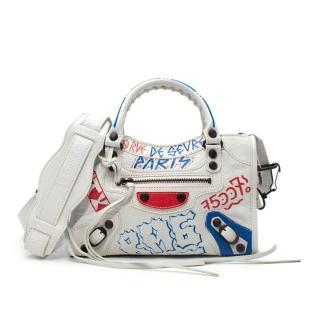 Balenciaga Mini City Paris Graffiti Crinkle Leather Shoulder Bag