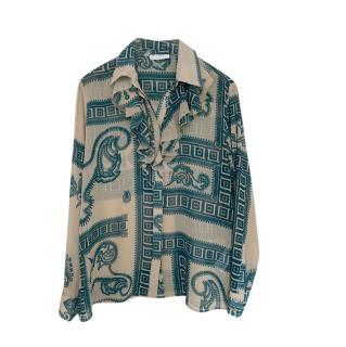 Versace Collection Sheer Printed Blouse