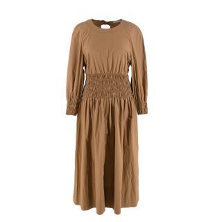 Three Graces London Arianna Smocked Waist Cotton Poplin Midi Dress