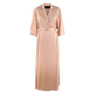 Michael Lo Sordo Blush Pink Silk-Satin Shirt Dress