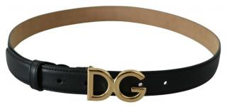 Dolce & Gabbana Black Leather DG Belt