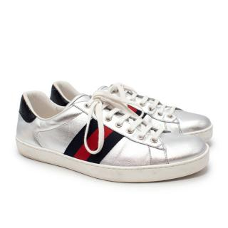 Gucci Ace Silver Leather Webbing Stripe Low Top Trainers