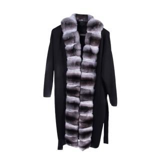 FurbySD Chinchilla Fur Trim Merino Wool Coat