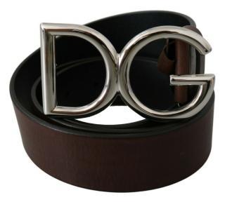 Dolce & Gabbana Brown Leather DG Belt