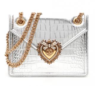 Dolce & Gabbana Metallic Croc Embossed Devotion Shoulder Bag