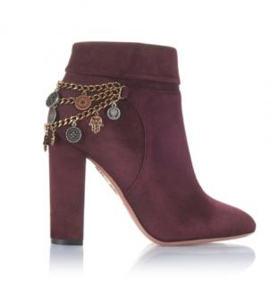Aquazzura Burgundy Suede Naty Chain Drape Ankle Boots