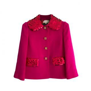 Dolce & Gabbana Embellished Fuchsia Wool Jacket