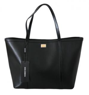 Dolce & Gabbana Black Grained Leather Tote Bag