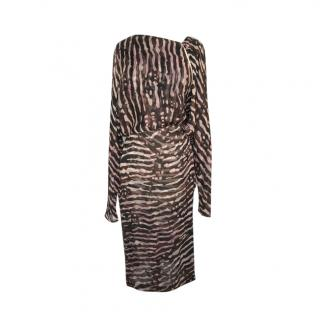 Tom Ford Zebra Print Draped Silk Midi Dress