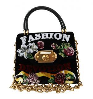 Dolce & Gabbana Fashion Velvet Devotion Top Handle Bag