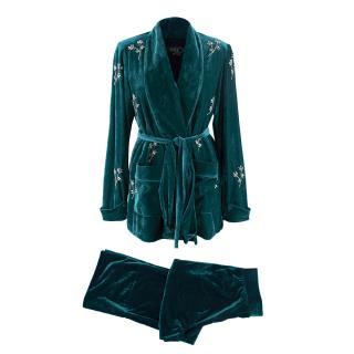 PatBO Azure Velvet Crystal Beaded Belted Robe Jacket & Trousers Set