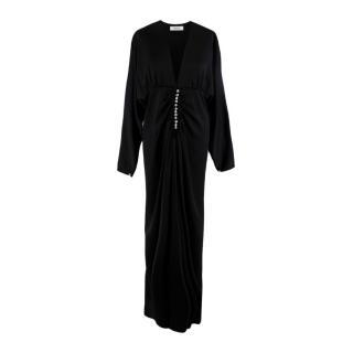Racil Black Satin Crystal Embellished Ruched Dress