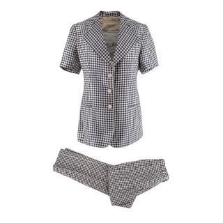 Giuliva Ginestra Houndstooth Linen Blazer & Altea Trousers Set
