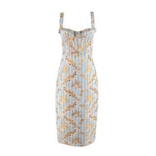Brock Collection Pelagia Blue & Gold Brocade Occasion Dress