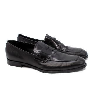 Prada Black Smooth & Saffiano Leather Loafers