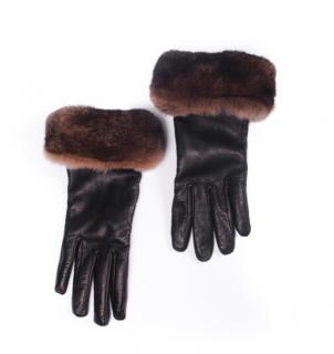 FurbySD Chinchilla Fur Trim Leather Gloves