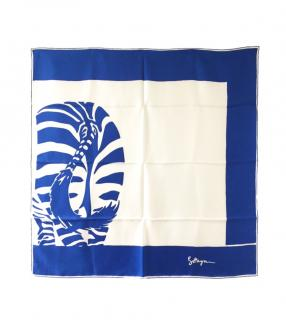 Bottega Veneta Zebra Print Blue Silk Scarf 90