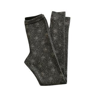 Alaia Black Printed Wool Blend Leggings