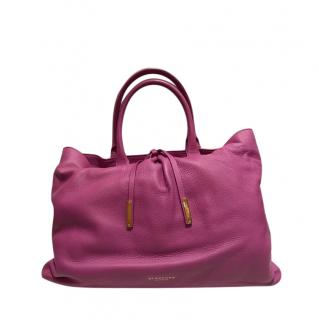 Burberry Pink Grained Leather Tote Bag
