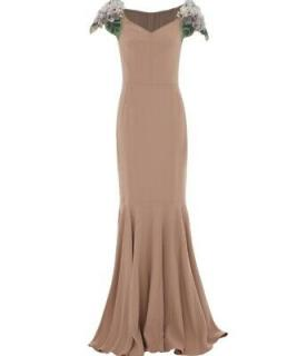 Dolce & Gabbana Embellished Cap=Sleeve Crepe Gown