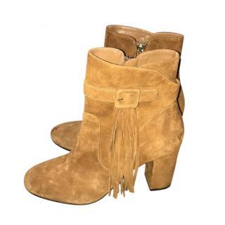 Aqauzzura Tan Tassel Ankle Boots