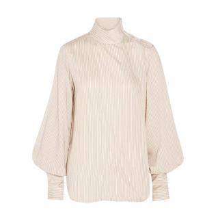 Bassike Beige Woven Silk Blend Blouse