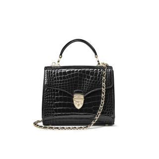 Aspinal of London Black Croc Embossed Top Handle Handbag
