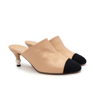Chanel Nude-Beige Leather Toe-Cap Pearl Embellished Heel Mules