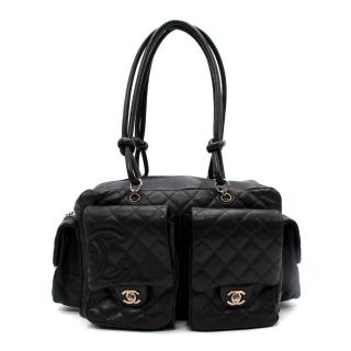 Chanel Black Quilted Leather Cambon Reporter Bag