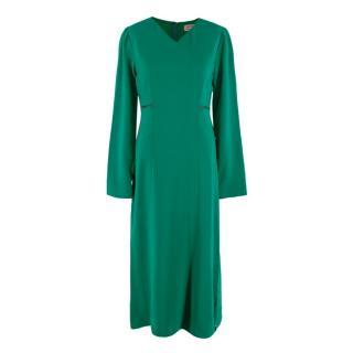 Lanvin Emerald Green Ladder Lace Waist Detail Midi Dress