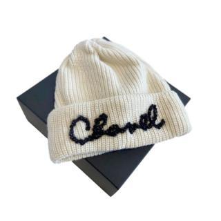 Chanel Cream Ribbed Cashmere Beaded Logo Beanie