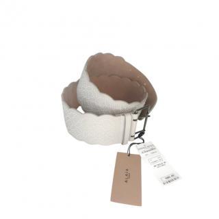 Alaia Pearl White Embellished Arabesque Belt - Size 85
