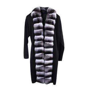FurbySD Black Merino Wool Chinchilla Fur Trim Wrap Coat