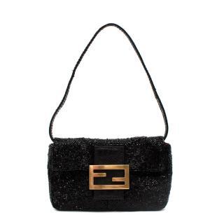 Fendi Black Beaded Mini Baguette Bag