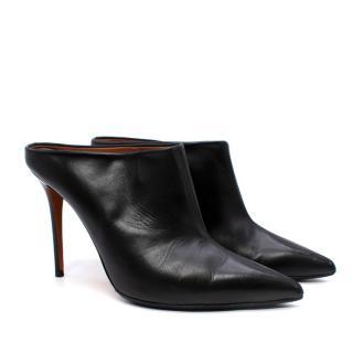 Celine Black Smooth Leather Point Toe Heeled Mules