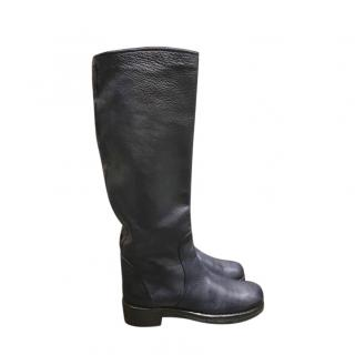 Bottega Veneta Navy Leather Knee Boots