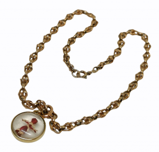 Bespoke Victorian Revival Gold Doll Pendant Necklace