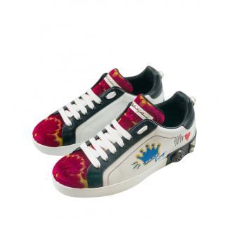 Dolce & Gabbana Multicoloured Embroidered Portofino Sneakers